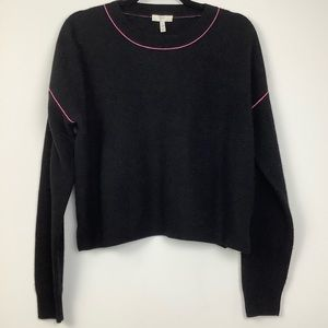 Joie Contrast Trim Cropped Sweater in Black